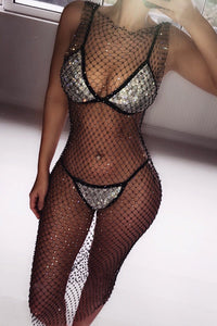 Rhinestone Black Fishnet Dress - Body Jewelry