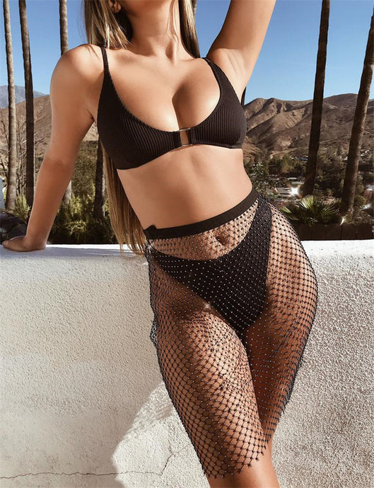 Crystal Black Fishnet Mini Dress