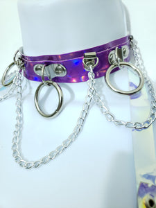 Hoop Chain Chocker in Violet Hologram