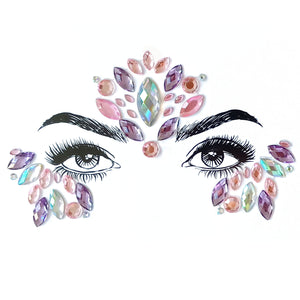 Pink Cloud Rhinestone Crystal Face Jewels