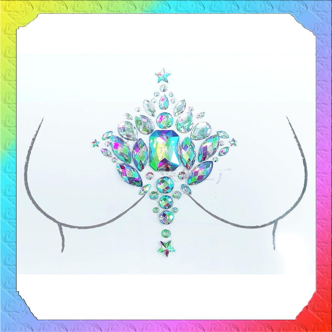 Mermaid Rhinestone Crystal Body Jewels, Chest Jewels