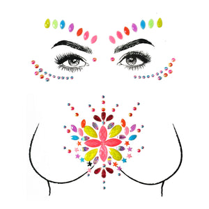 Neon Daisy Rhinestone Crystal Face & Body Jewels Set