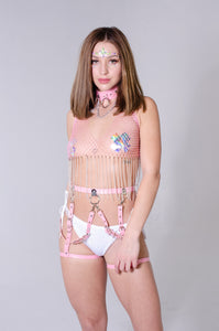 Pink Crystal Fishnet Tassel Chain Top