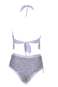 Hand-Stitched High Waisted Sequin Shorts - Moonwalk