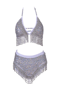 Hand-Stitched Sequin Bra Top - Moonwalk