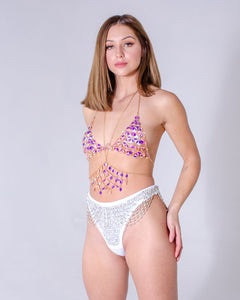 Hand-Stitched Low Waisted Sequin Bottom - Moonwalk