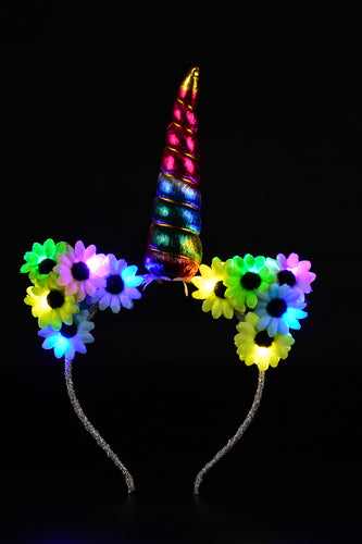 LED Flower Unicorn Kitty Headband - Rainbow