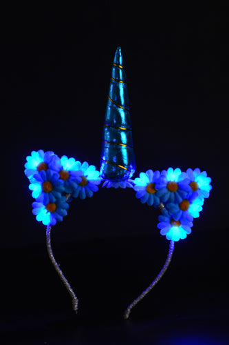 LED Flower Kitty Unicorn Headband - Blue