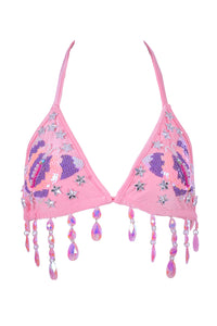 Hand-stitched Pink Butterfly Playground Top