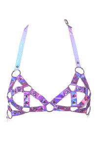 Electric Daisy Girl Harness Bralette in Baby Purple Hologram