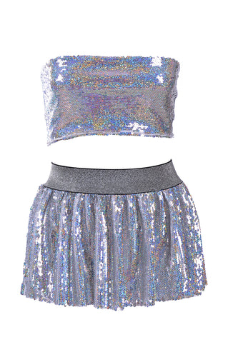 8ca95558f840f Holographic Reversible Sequin Set (Tube Top + Skirt)