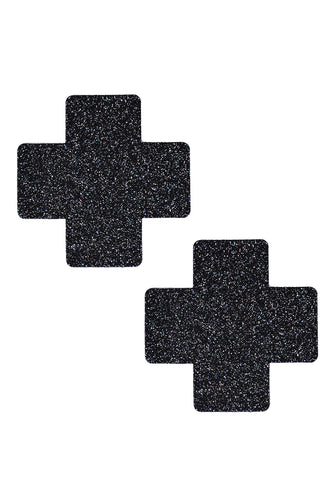 Glitter Black Cross Pasties