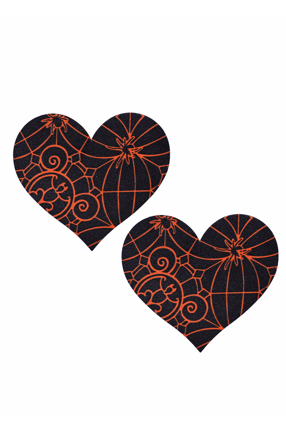 Orange Spider Net Heart Pasties