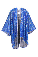 Disco Sequin Kimono - Blue 3D Cat Eyes