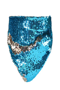 Reversible Sequin Bandana & Face Mask - Blue & Champagne