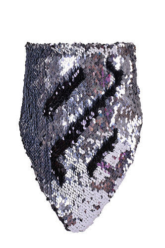 Reversible Sequin Bandana & Face Mask - Silver & Black