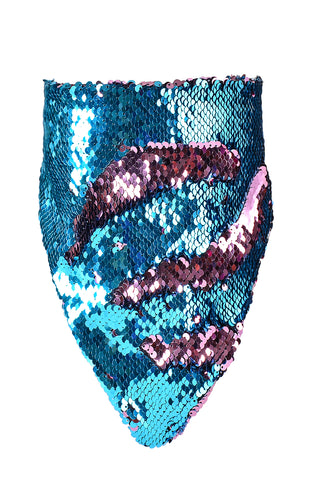 Reversible Sequin Bandana & Face Mask - Sky Blue & Pink