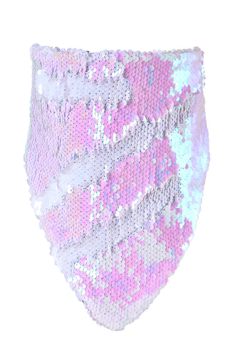 Reversible Sequin Bandana & Face Mask - Iridescent & White