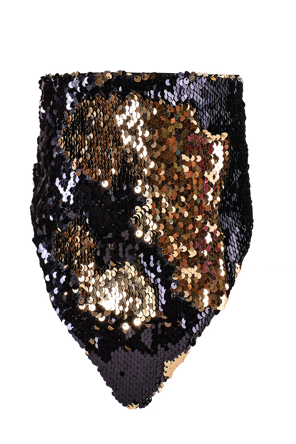Reversible Sequin Bandana & Face Mask - Black & Gold