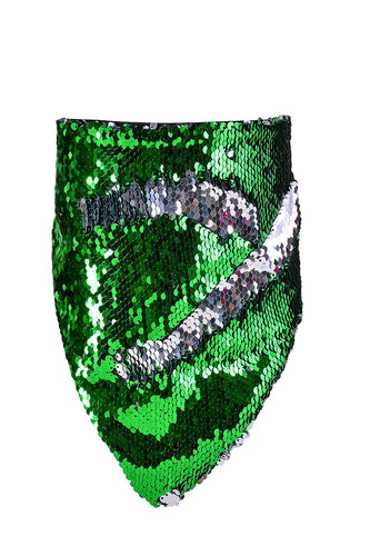 Reversible Sequin Bandana & Face Mask - Silver & Grass