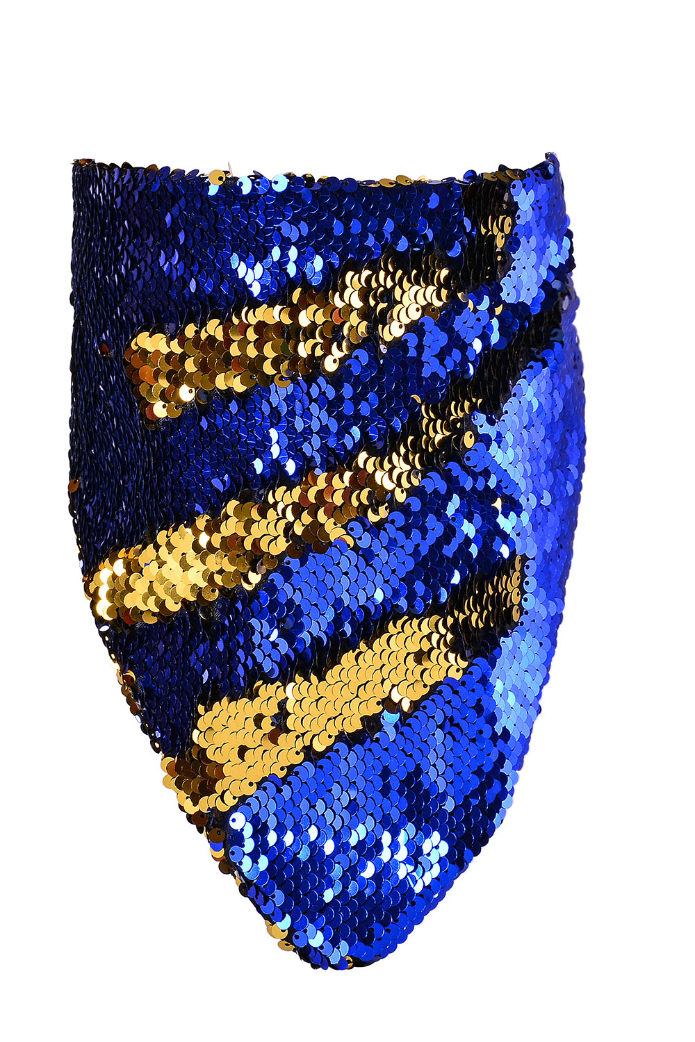 Reversible Sequin Bandana & Face Mask - Royal Blue & Gold