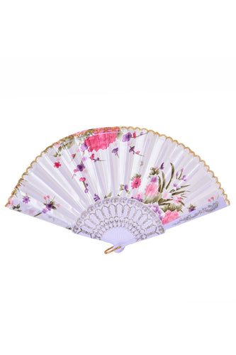 Festival Silk Fan - White Blossoms