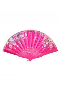 Festival Silk Fan - Rose Pink Blossoms