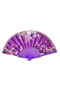 Festival Silk Fan - Purple Blossoms
