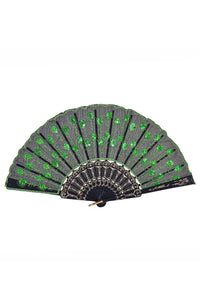 Peacock Sequin Fan - Green