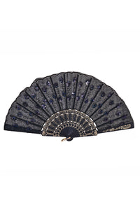 Peacock Sequin Fan - Black