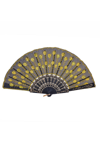 Peacock Sequin Fan - Yellow