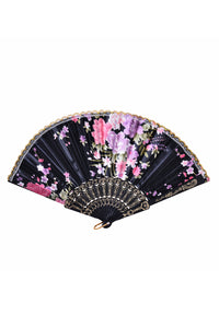 Festival Silk Fan - Black Blossoms