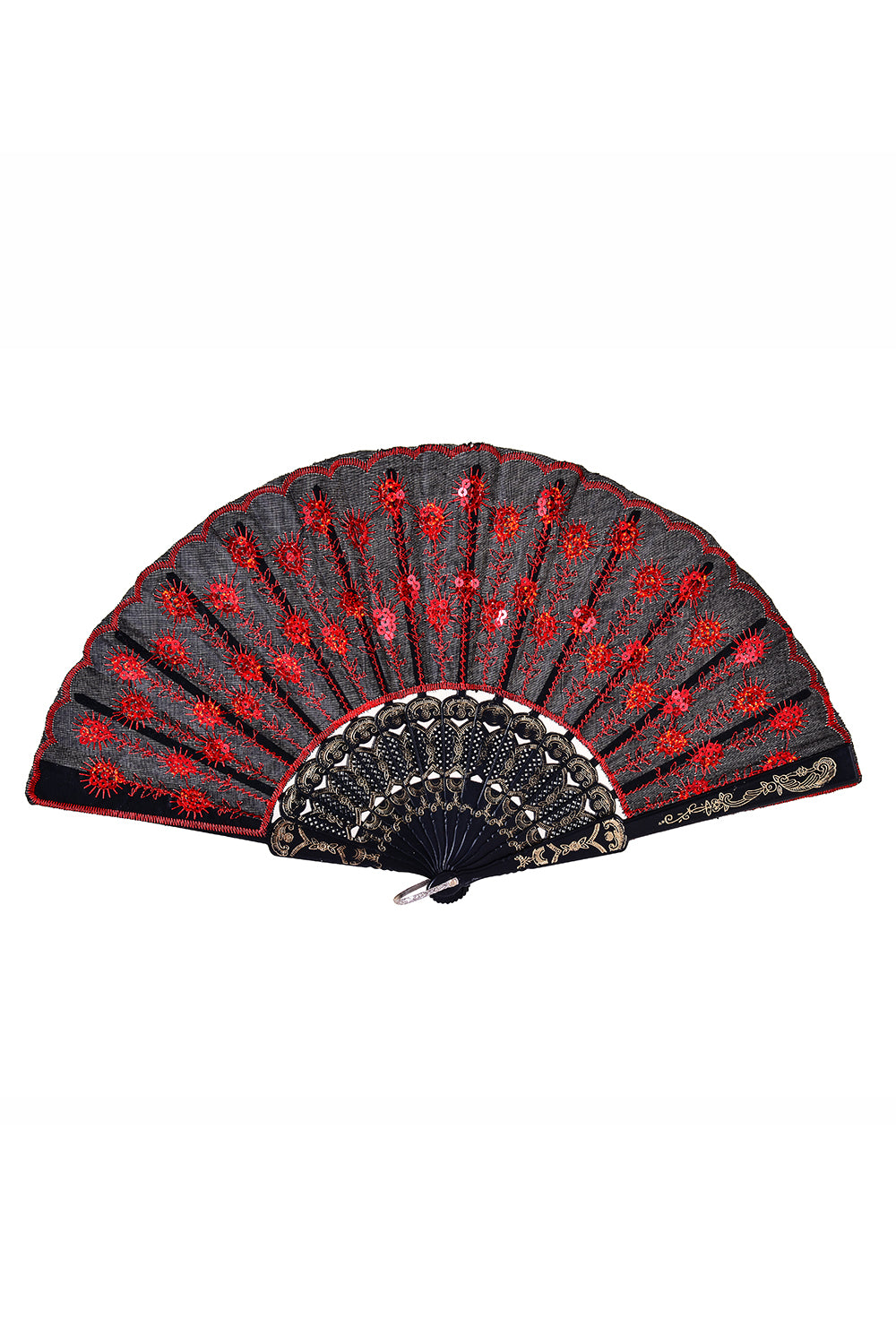 Peacock Sequin Fan - Red