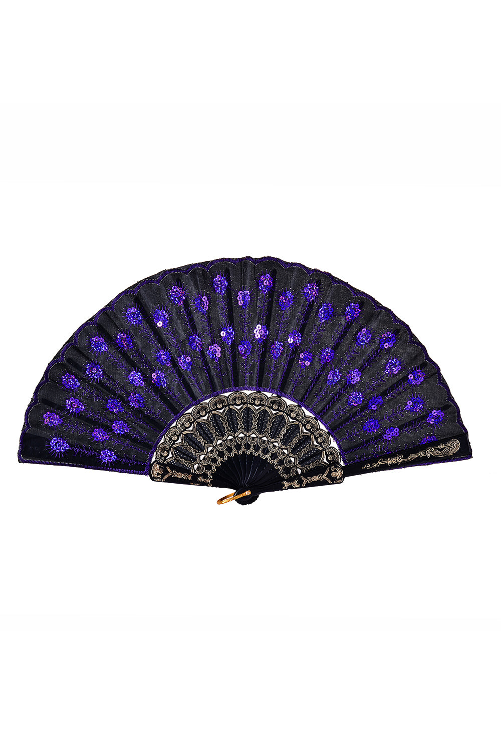 Peacock Sequin Festival Fan - Purple
