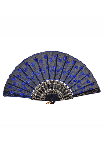Peacock Sequin Fan - Royal Blue