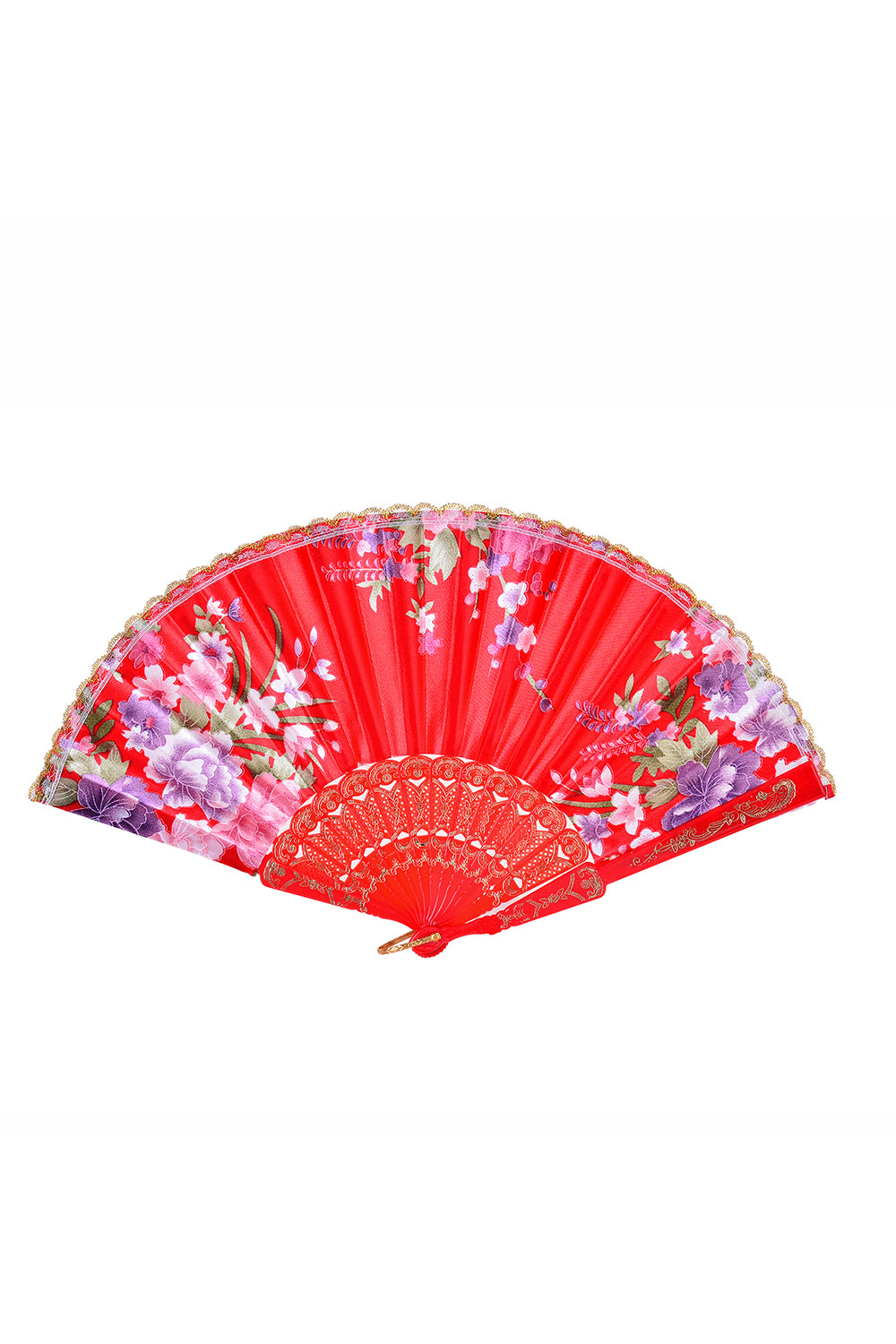 Festival Silk Fan - Red Blossoms