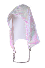 Reversible Sequin Hood - Iridescent & White