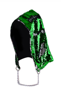 Reversible Sequin Hood - Silver & Grass