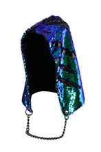 Reversible Sequin Hood - Peacock