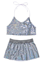 Reversible Sequin Set (Halter Top & Skirt) - Holographic