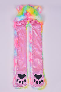 Cotton Candy Tie Dye Animal Fur Hood