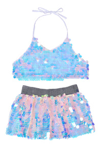 Sequin Set (Halter Top + Mini Skirt) - Unicorn