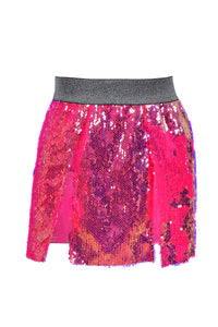 Flamingo Shine Open Front Sequin Skirt