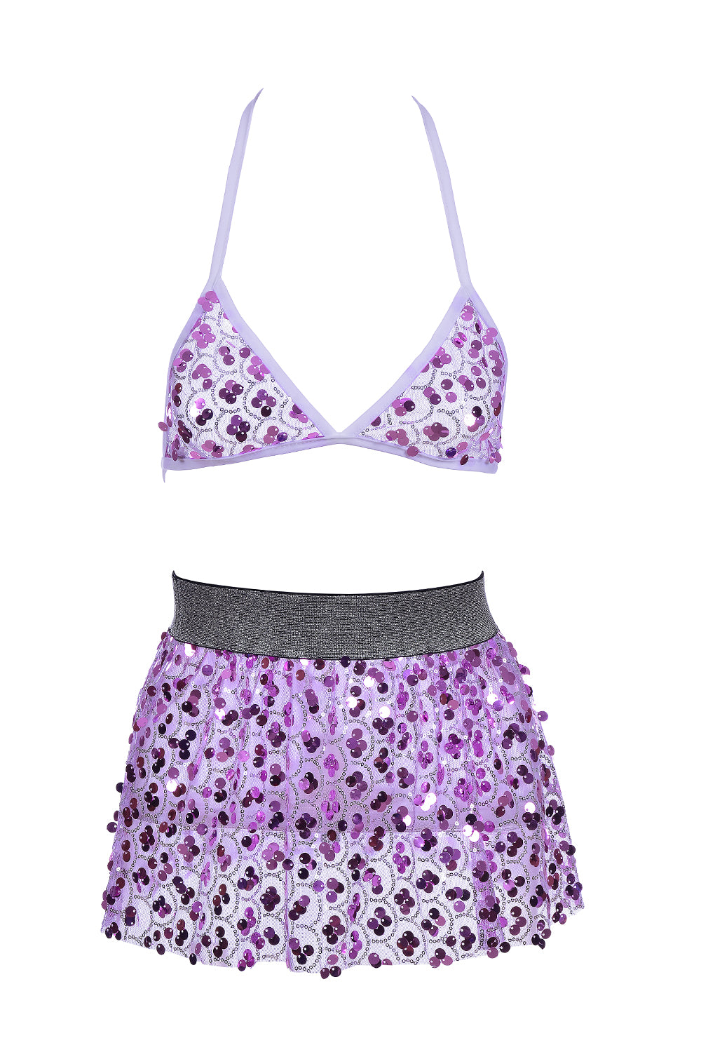 Fuchsia Treasure Sequin Set (Bra + Skirt)