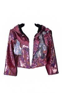Sequin Cropped Jacket - Pink Stars