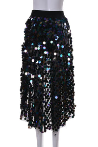 Dark Ocean Tapered Sequin Skirt