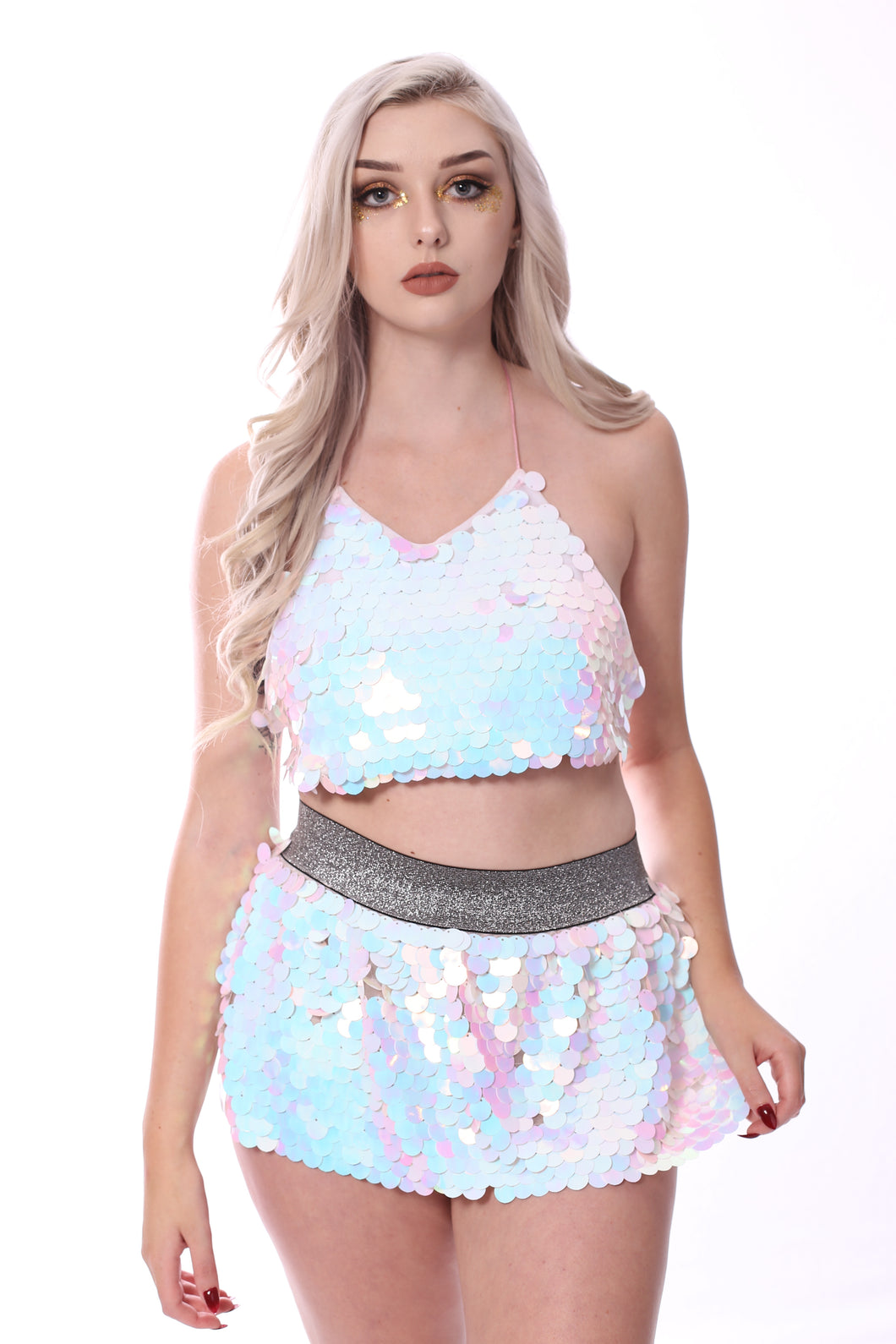 Sequin Set (Halter Top + Mini Skirt) - Ice Flake