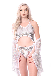 Disco Sequin Bodysuit - Silver