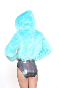 Disco Cropped Fur Jacket - Neon Forest