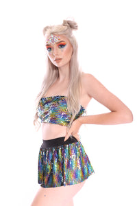 2-Way Rainbow Star Reversible Sequin Tube Top